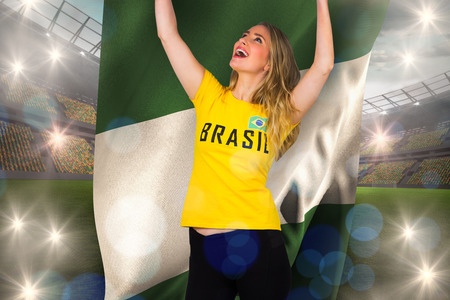 Excited football fan in brasil tshirt holding nigeria flag against large football stadium with lights photo
