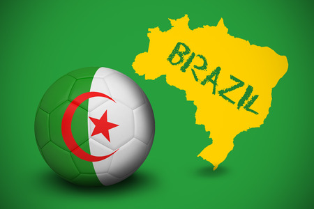 Football in algeria colours against yellow brazil outline on green with text photo