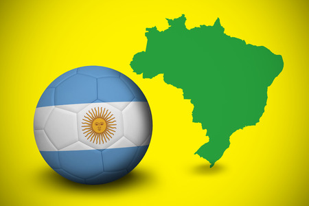 Football in argentina colours against green brazil outline on yellow  photo