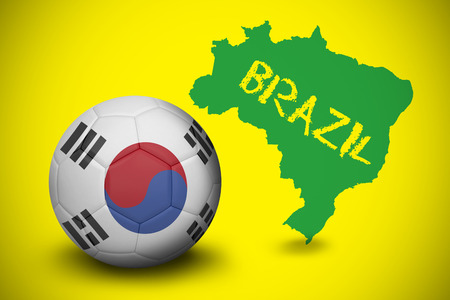 Football in south korea colours  against green brazil outline on yellow with text photo