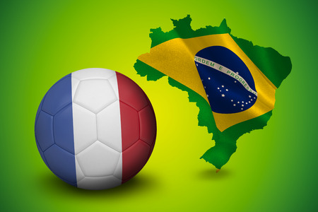 Football in france colours against green brazil outline with flag photo