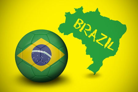 Football in brasil colours against green brazil outline on yellow with text photo