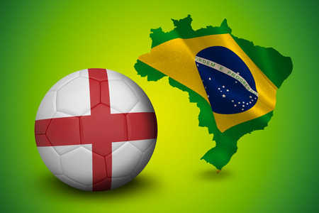 Football in england colours against green brazil outline with flag photo