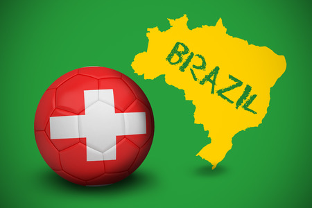 Football in swiss colours against yellow brazil outline on green with text photo