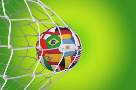 multi national: Football in multi national colours at back of net against green vignette