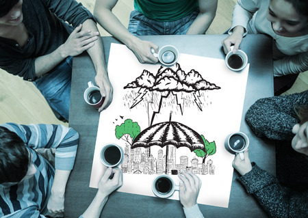 sheltering: People sitting around table drinking coffee with page showing umbrella sheltering city doodle