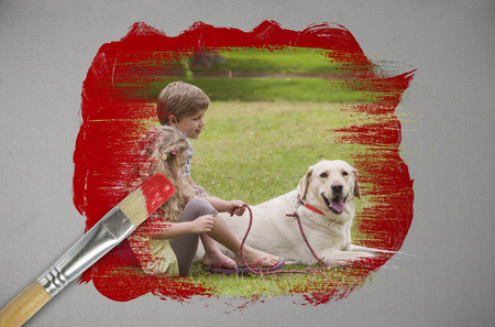 Composite image of siblings and their dog with paintbrush dipped in red against digitally generated grey background photo