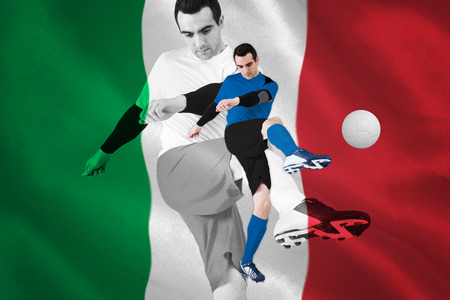 Football player in blue kicking against digitally generated italian national flag photo