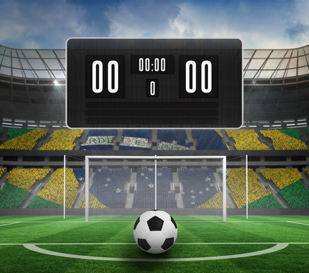 world sport event: Black scoreboard with no score and football against football pitch in large stadium Stock Photo