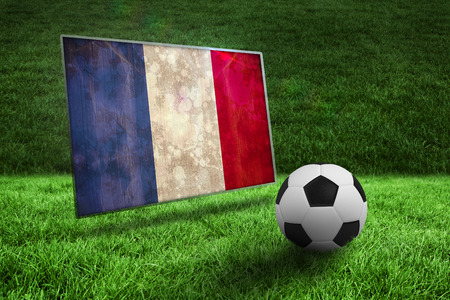 Black and white football on grass against france flag in grunge effect photo
