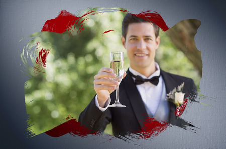 Composite image of groom toasting with champagne with red paint against digitally generated grey vignette background photo