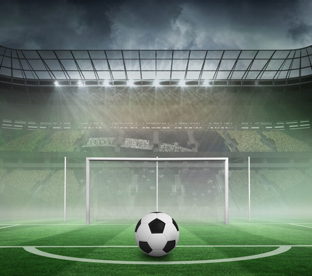 goalpost: Black and white football against football pitch in large stadium