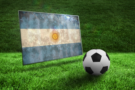 Black and white football on grass against argentina flag in grunge effect photo