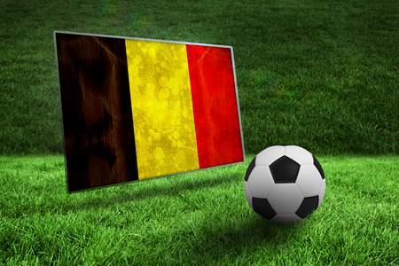 Black and white football on grass against belgium flag in grunge effect photo
