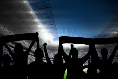 football stadium: Silhouettes of football supporters against football stadium