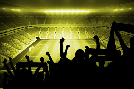 stadium lights: Silhouettes of football supporters against large football stadium with lights Stock Photo