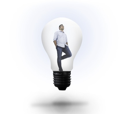 Thinking man in light bulb on white background photo