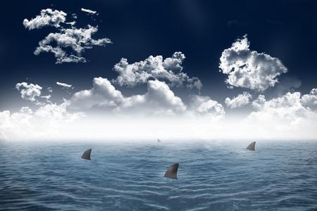 暗い空の下でデジタル生成サメが出没する海