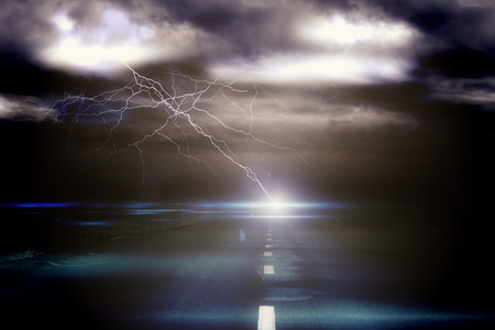 dark: Digitally generated stormy sky over road with lightning