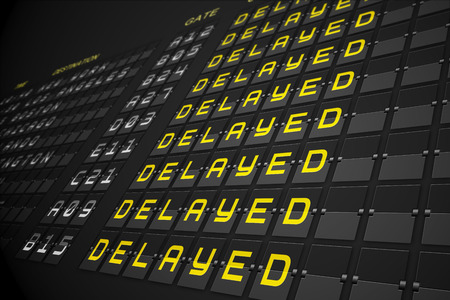 the delayed: Departures list on digitally generated black mechanical board