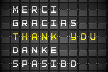 Thank you in languages on digitally generated black mechanical board photo