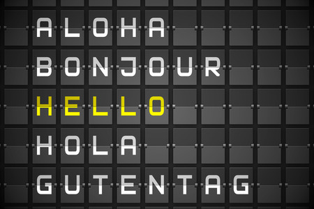 hola: Hello in languages on digitally generated black mechanical board