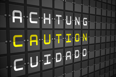 achtung: Caution in languages on digitally generated black mechanical board