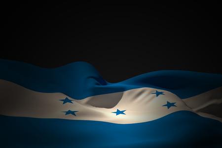 bandera honduras: Bandera de Honduras ondeando contra el negro sombra