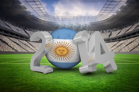 Argentina world cup 2014 against vast football stadium with fans in white photo