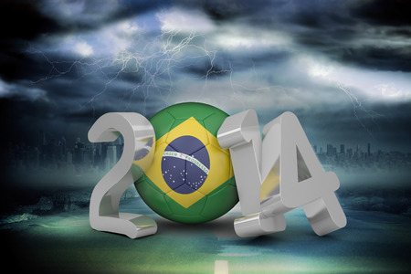 stormy sky: Brazil world cup 2014 against stormy sky with tornado over road Stock Photo
