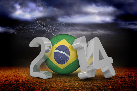 stormy sky: Brazil world cup 2014 against stormy sky over field with lightning Stock Photo