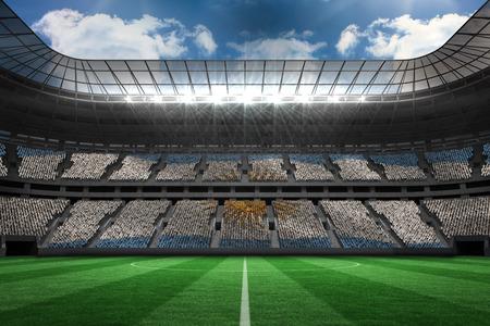 argentinian flag: Argentinian flag against large football stadium