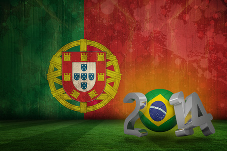Brazil world cup 2014 against portugal flag in grunge effect photo