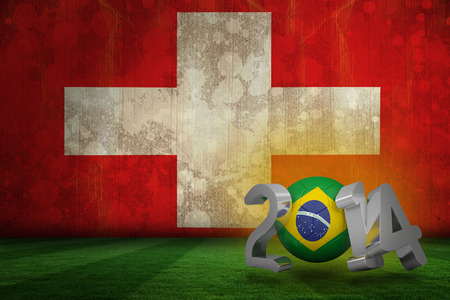 Brazil world cup 2014 against switzerland flag in grunge effect photo