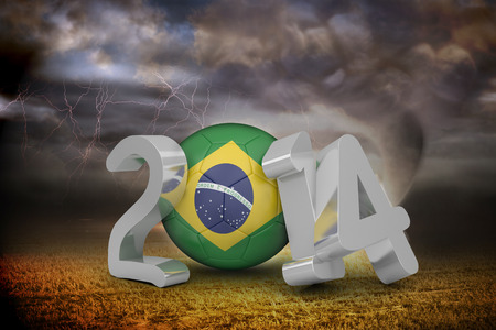 stormy sky: Brazil world cup 2014 against stormy sky with tornado over field