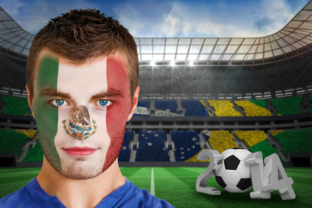 Composite image of serious young mexico fan with face paint against large football stadium photo
