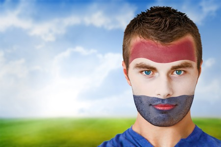 Composite image of netherlands football fan in face paint against football pitch under blue sky photo