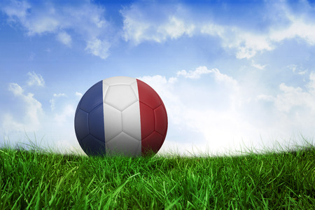 Football in france colours on field of grass under blue sky photo