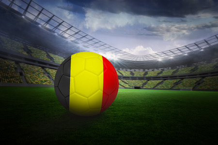 Football in germany colours in large football stadium with lights photo