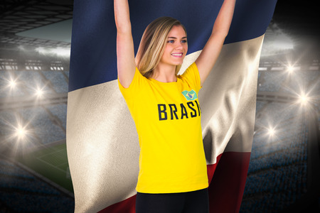 Excited football fan in brasil tshirt holding france flag against large football stadium with fans in blue photo