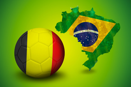 Football in germany colours against green brazil outline with flag photo