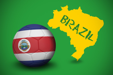 Football in costa rica colours against yellow brazil outline on green with text photo