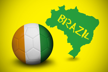 Football in ivory Coast colours against green brazil outline on yellow with text photo