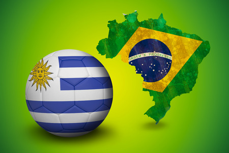 Football in uruguay colours  against green brazil outline with flag photo
