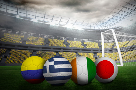 Group c world cup footballs in large stadium photo