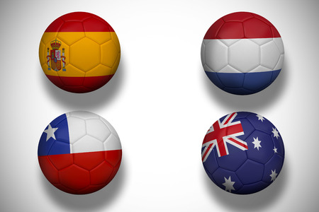 Composite image of group b footballs for world cup against white background with vignette photo