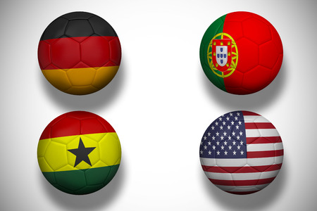 Composite image of group g footballs for world cup against white background with vignette photo