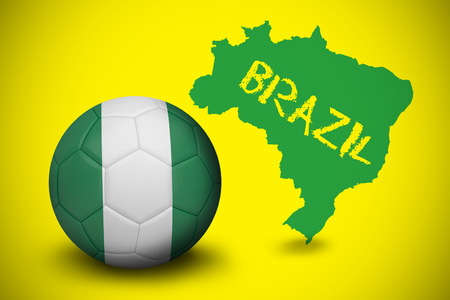 Football in nigeria colours against green brazil outline on yellow with text photo