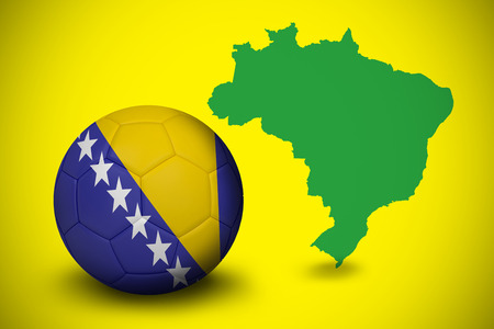 Football in bosnia and herzegovina colours  against green brazil outline on yellow  photo
