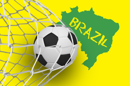 Football at back of net against green brazil outline on yellow with text photo